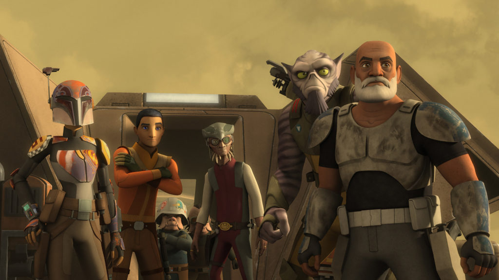 """STAR WARS REBELS - """"Steps into Shadow"""" - The critically-acclaimed animated series """"Star Wars Rebels"""" returns SATURDAY, SEPTEMBER 24 (8:30 p.m., ET) and introduces new characters Grand Admiral Thrawn and Bendu during the season three one-hour premiere event, """"Steps into Shadow"""" on Disney XD. (Lucasfilm) SABINE, EZRA, HONDO OHNAKA, ZEB, CAPTAIN REX"""