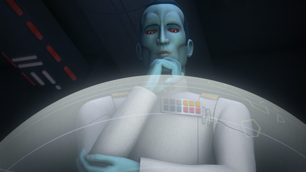 """STAR WARS REBELS - """"Steps into Shadow"""" - Led by a more powerful Ezra, a rebel mission goes awry, and Kanan returns to help the Ghost crew. Grand Admiral Thrawn emerges as a new threat. This episode of """"Star Wars Rebels"""" airs Saturday, September 24 (8:30 - 9:30 P.M. EDT) on Disney XD. (Lucasfilm) GRAND ADMIRAL THRAWN"""