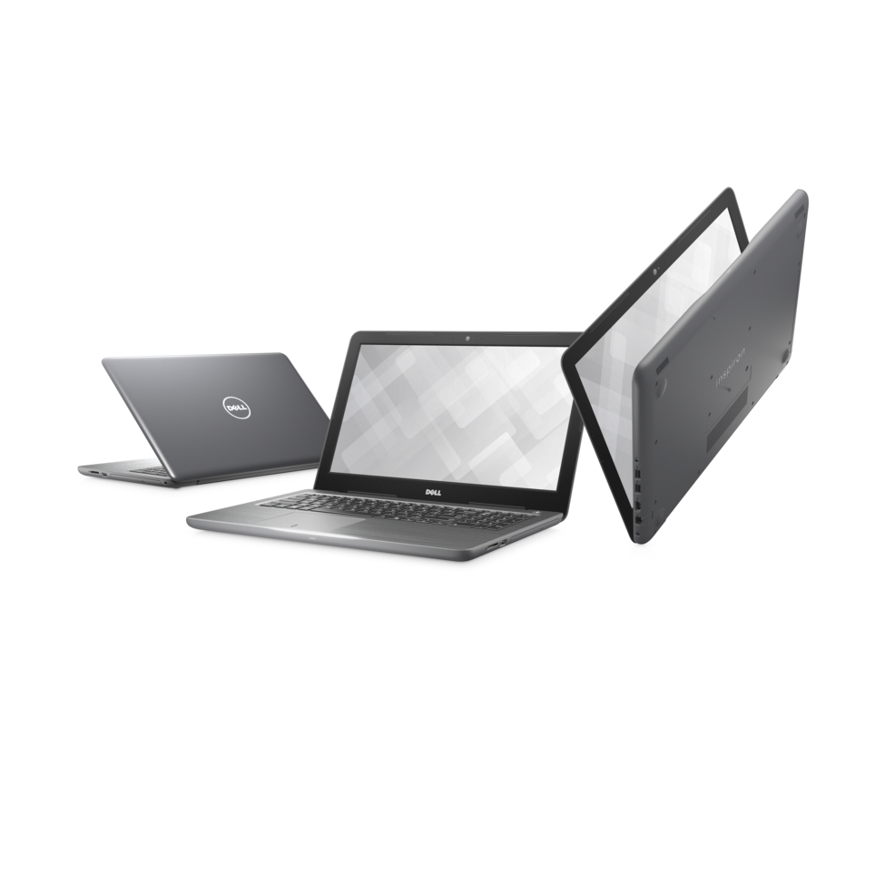 Three Dell Inspiron 15 5000 Series (Model 5567) Touch 15-inch notebook computers with Intel processor, codename Gamora, shown in various orientations.
